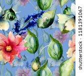 seamless wallpaper with wild... | Shutterstock . vector #1181391067