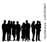 isolated  silhouette of a crowd ... | Shutterstock .eps vector #1181392867