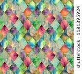 watercolor argyle abstract...   Shutterstock . vector #1181395924