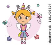sweet girl disguised as a... | Shutterstock .eps vector #1181405524