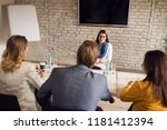 woman on interview for job in... | Shutterstock . vector #1181412394
