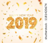 gold 2019 happy new year... | Shutterstock .eps vector #1181420674