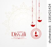 hanging diwali diya lovely... | Shutterstock .eps vector #1181421424