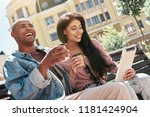 using gadgets. young diverse...   Shutterstock . vector #1181424904