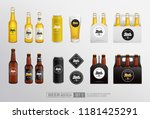 realistic beer mockup set of... | Shutterstock .eps vector #1181425291
