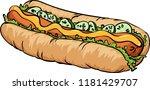 vector illustration. hot dog... | Shutterstock .eps vector #1181429707