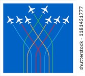 airplane flying formation in... | Shutterstock .eps vector #1181431777