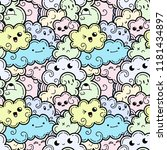 seamless pattern with funny... | Shutterstock .eps vector #1181434897