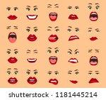 comic emotions. women facial... | Shutterstock .eps vector #1181445214