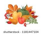 decorative autumn composition... | Shutterstock .eps vector #1181447104