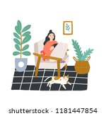 young girl sitting in... | Shutterstock .eps vector #1181447854