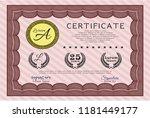 red sample diploma.... | Shutterstock .eps vector #1181449177