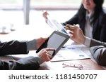 businessman uses digital tablet ...   Shutterstock . vector #1181450707