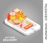 fast food online concept.... | Shutterstock .eps vector #1181453761