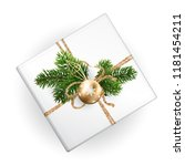 a mockup of a xmas gift box for ... | Shutterstock .eps vector #1181454211