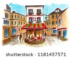 a sketch of an old cafe in...   Shutterstock . vector #1181457571