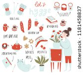 set of hygge attributes ... | Shutterstock .eps vector #1181458837