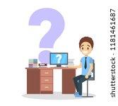 school boy in shirt sitting at... | Shutterstock .eps vector #1181461687