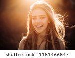 autumn woman on fall nature... | Shutterstock . vector #1181466847