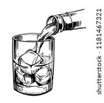 glass with ice and strong drink.... | Shutterstock .eps vector #1181467321
