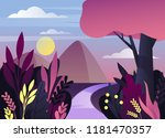 nature panorama at dusk or... | Shutterstock .eps vector #1181470357