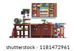 carpenter woodwork workshop... | Shutterstock .eps vector #1181472961
