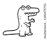 line drawing cartoon crocodile | Shutterstock . vector #1181475751