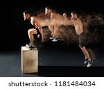man jumping on fit box in gym.... | Shutterstock . vector #1181484034
