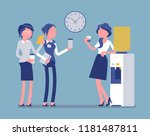 office cooler chat. young... | Shutterstock .eps vector #1181487811