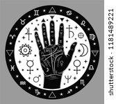 palmistry of hands ... | Shutterstock .eps vector #1181489221