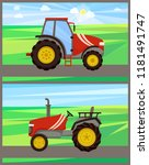tractor machines on fields... | Shutterstock .eps vector #1181491747