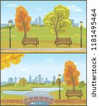 autumn autumnal park with... | Shutterstock .eps vector #1181495464