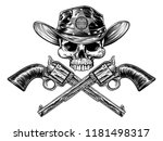 sheriff cowboy skull in a... | Shutterstock .eps vector #1181498317