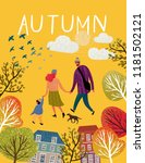 family in autumn  vector... | Shutterstock .eps vector #1181502121