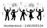 happy stick figures celebrating ... | Shutterstock .eps vector #1181505124