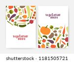 bundle of vegan menu cover... | Shutterstock .eps vector #1181505721