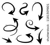 arrows. hand written set.... | Shutterstock .eps vector #1181509801