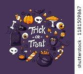 vector halloween greeting card  ...   Shutterstock .eps vector #1181509867