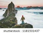 traveler man on cliff alone... | Shutterstock . vector #1181531437