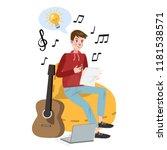 man writing lyrics for song.... | Shutterstock .eps vector #1181538571