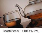 transparent glass teapot and... | Shutterstock . vector #1181547391