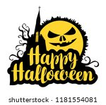 happy halloween lettering with... | Shutterstock .eps vector #1181554081