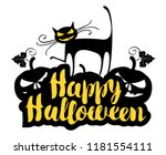 happy halloween lettering with... | Shutterstock .eps vector #1181554111