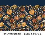 vintage flowers seamless border ... | Shutterstock .eps vector #1181554711