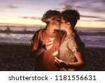 affectionate young lesbian... | Shutterstock . vector #1181556631