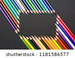 frame of colored pencils... | Shutterstock . vector #1181586577