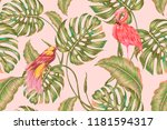 floral tropical seamless vector ... | Shutterstock .eps vector #1181594317