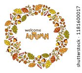 welcome autumn. leaves  berries ... | Shutterstock .eps vector #1181600017