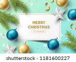 christmas composition with fir... | Shutterstock .eps vector #1181600227