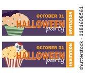 halloween background with...   Shutterstock .eps vector #1181608561